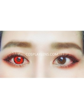 Fantasy Red Unicorn Crazy Cosplay Contact Lenses before and after