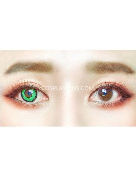 Fantasy Green Unicorn Crazy Cosplay Contact Lenses before and after.
