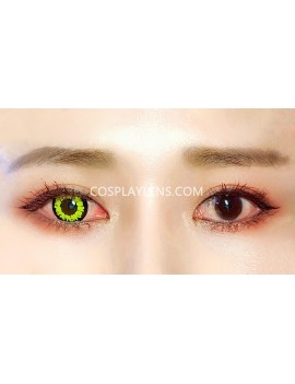 Fantasy Yellow Unicorn Crazy Cosplay Contact Lenses before and after.
