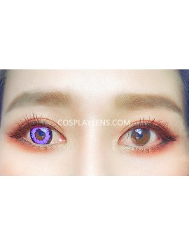 Fantasy Purple Unicorn Crazy Cosplay Contact Lenses before and after.