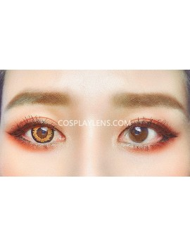 Fantasy Honey Brown Unicorn Crazy Cosplay Contact Lenses before and after.