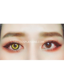Golden Orange Yellow Unicorn Crazy Cosplay Contact Lenses before and after.