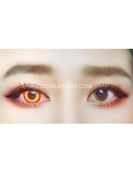 Fantasy Fire Yellow Red Unicorn Crazy Cosplay Contact Lenses before and after.