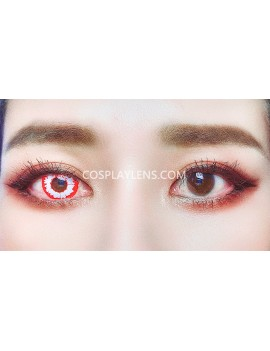 Fantasy White Red Unicorn Premium Cosplay Crazy Contact Lenses before and after.