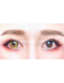 4 Tones Golden Orange Yellow Brown Natural Unicorn Contact Lenses before and after.