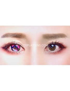 Anime Purple Unicorn Premium Crazy Cosplay Contact Lenses before and after.