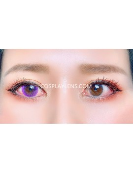 Natural Purple Unicorn Premium Coloured Contact Lenses 14.0mm before and after.