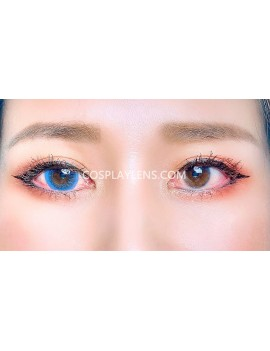 Natural Blue Unicorn Premium Coloured Contact Lenses 14.0mm before and after.