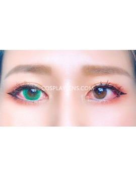 Natural Green Unicorn Premium Coloured Contact Lenses 14.0mm before and after.