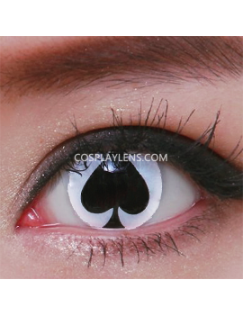 White Black Spade Crazy Cosplay Contact Lenses