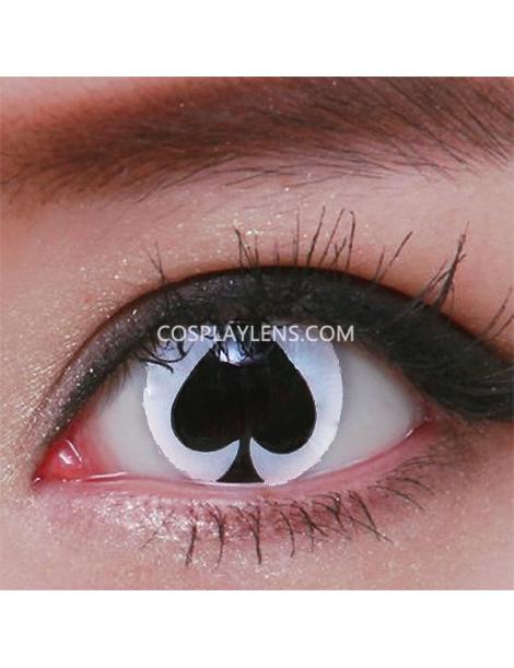 White Black Spade Crazy Cosplay Contact Lenses