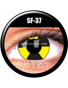 Yellow Black Warning Crazy Cosplay Contact Lenses