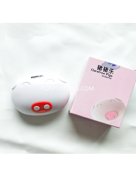 Cute White Pink Pig Travel Contact Lens Case Storage Kit