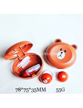 Cute Brown Rilakkuma Line Emoji Travel Contact Lens Case Storage Kit