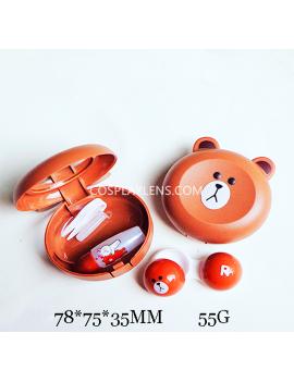 Cute Brown Rilakkuma Line Emoji Travel Contact Lens Case Storage Kit