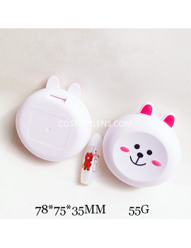 Cute white bear Line Emoji Travel Contact Lens Case Storage Kit