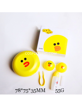 Cute Line Yellow Emoji Travel Contact Lens Case Storage Kit