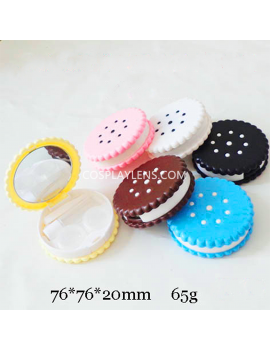 Cute Black Cookies Biscuits Travel Contact Lens Case Storage Kit