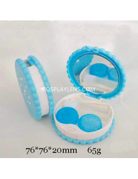 Cute Blue Cookies Biscuits Travel Contact Lens Case Storage Kit