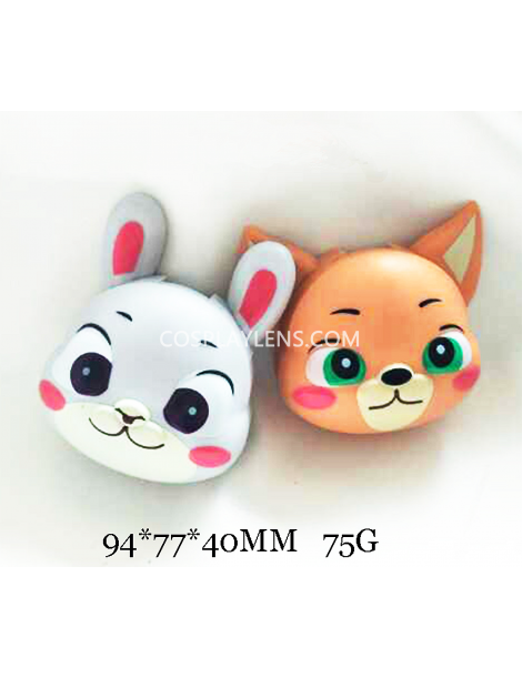 Cute White Brown Animal Cartoon Travel Contact Lens Case Storage Kit