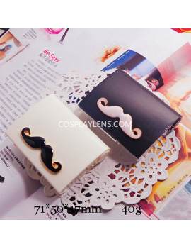 Cute White Black Mustache Travel Portable Contact Lens Case Storage Kit