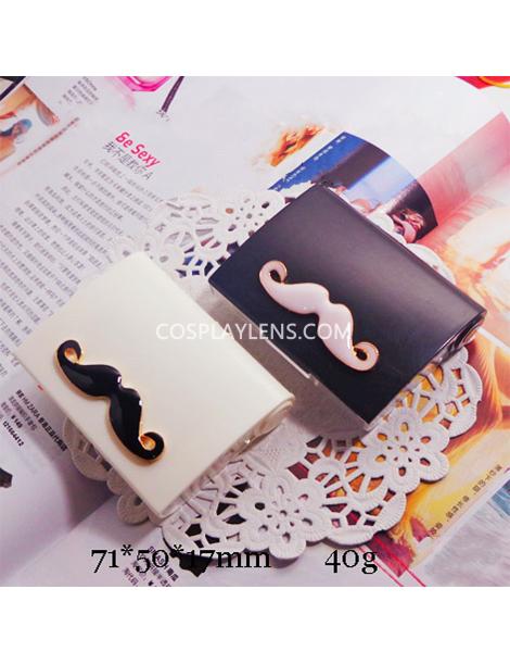 Cute White Black Mustache Travel Portable Contact Lens Case Storage Kit