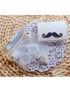Cute White Mustache Travel Portable Contact Lens Case Storage Kit