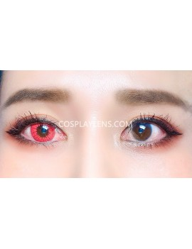 Sapphire Red Unicorn Crazy Cosplay Contact Lenses before and after.